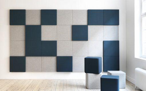 Snygg vägginstallation av absorbenter Soneo Wall 100 och Soneo Wall 50