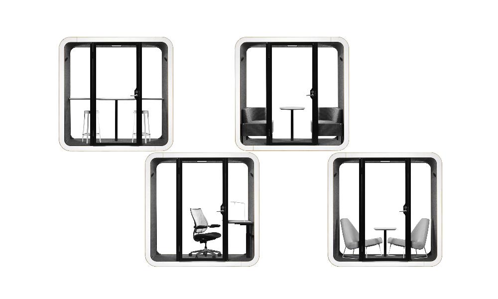 Framery mötesrum kan möbleras för flera olika ändamål