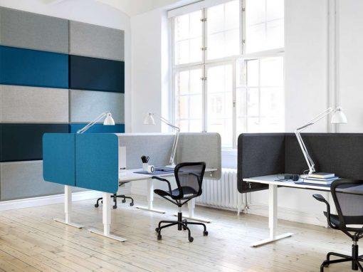 Produktinstallation Domo akustikpanel och Domo bordsskärmar