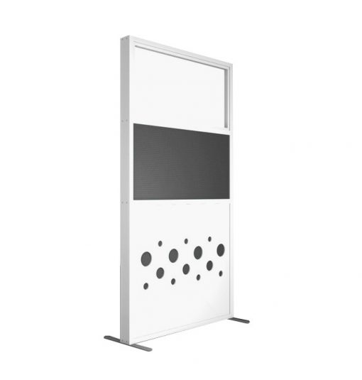 Zilenzio Dotz skärmvägg för kontor i vitt utförande, grå textil och glas upptill.