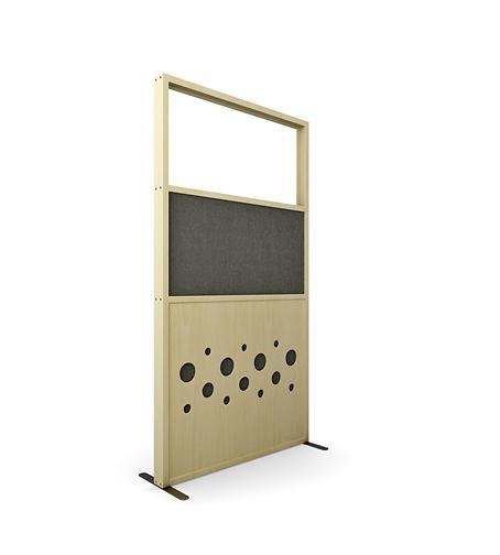 Zilenzio Dotz skärmvägg för kontor i björk utförande, grå textil och glas upptill.
