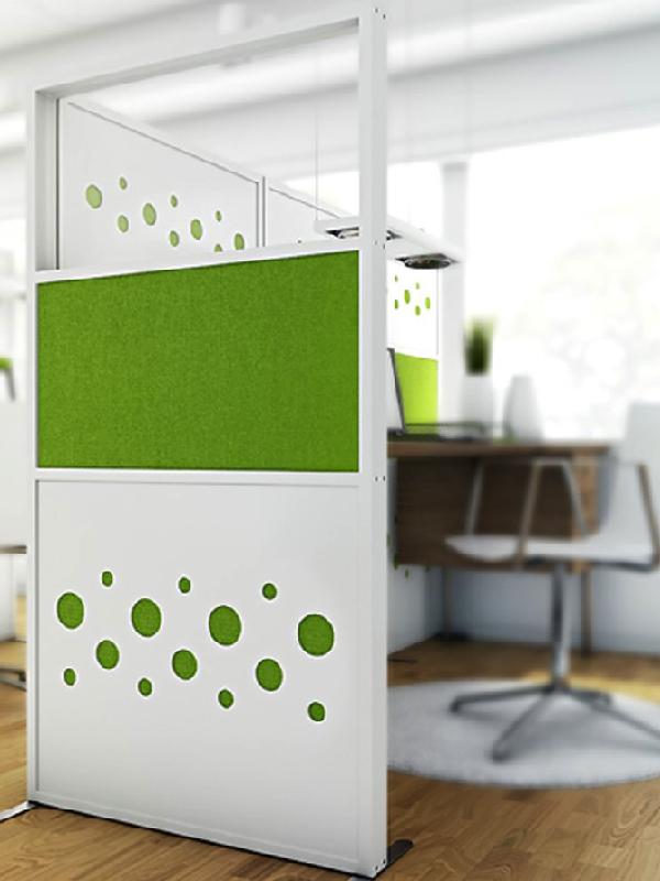 Dotz skärmar i vit laminat med grön textil