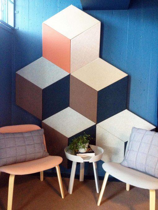Bra ljudmiljö och snygg design på väggen
