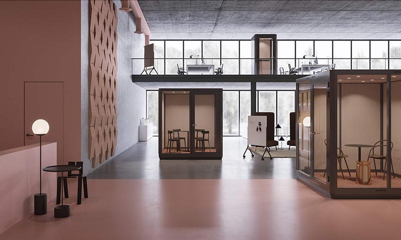 Flyttbart mötesrum och telefonhytt i kontorslandskap - Plenty Pod
