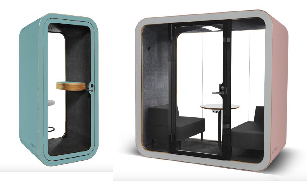 Två olika storlekar - Framery Telefonhytt och Framery Mötesrum