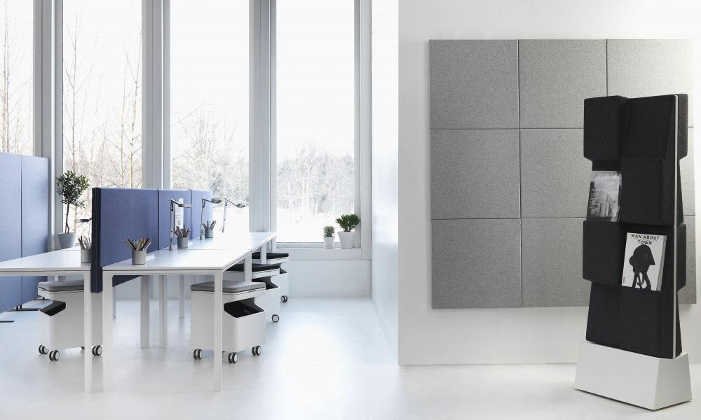 Soneo bordsskärmar, golvskärmar och väggabsorbenter på samma kontor