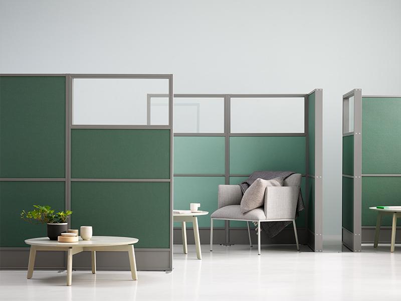 Zilenzio Offizz grått laminat och grön textil. Glas upptill.