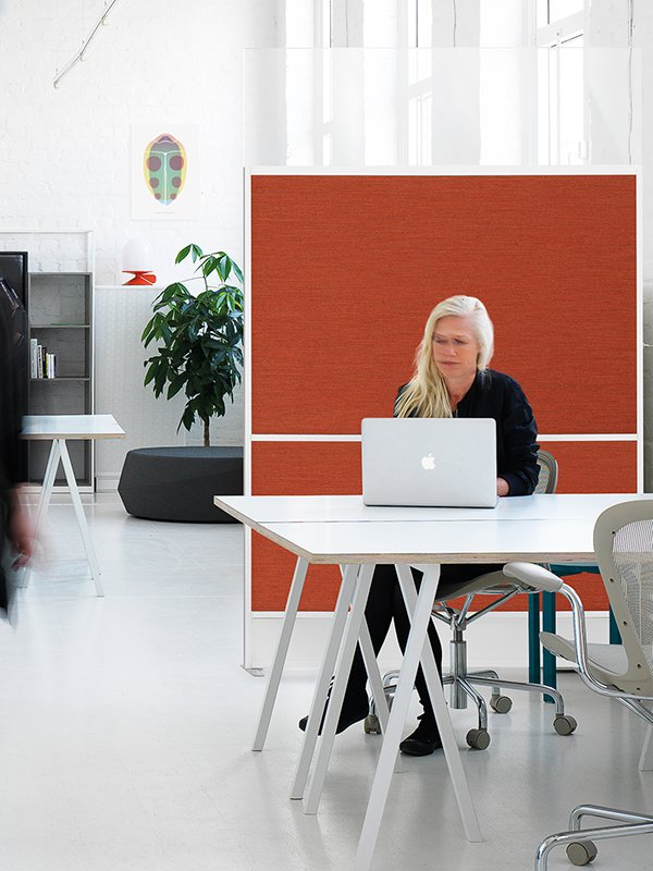 Zilenzio Offizz skärmvägg i öppet kontorslandskap med textilt ytskikt