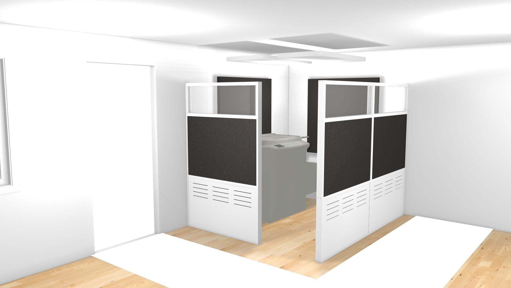 Ställ skärmarna runt störande utrusning på kontoret och minska oljud