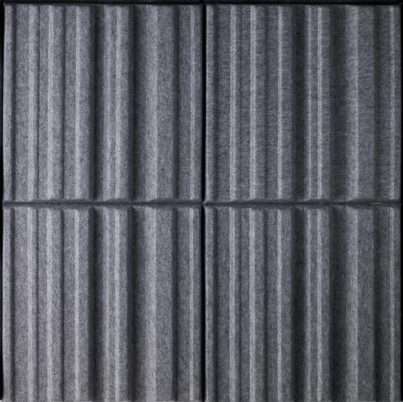 Ljudabsorbenter av modellen Soundwave Sky i kulör grey placerade i en kvadrat.