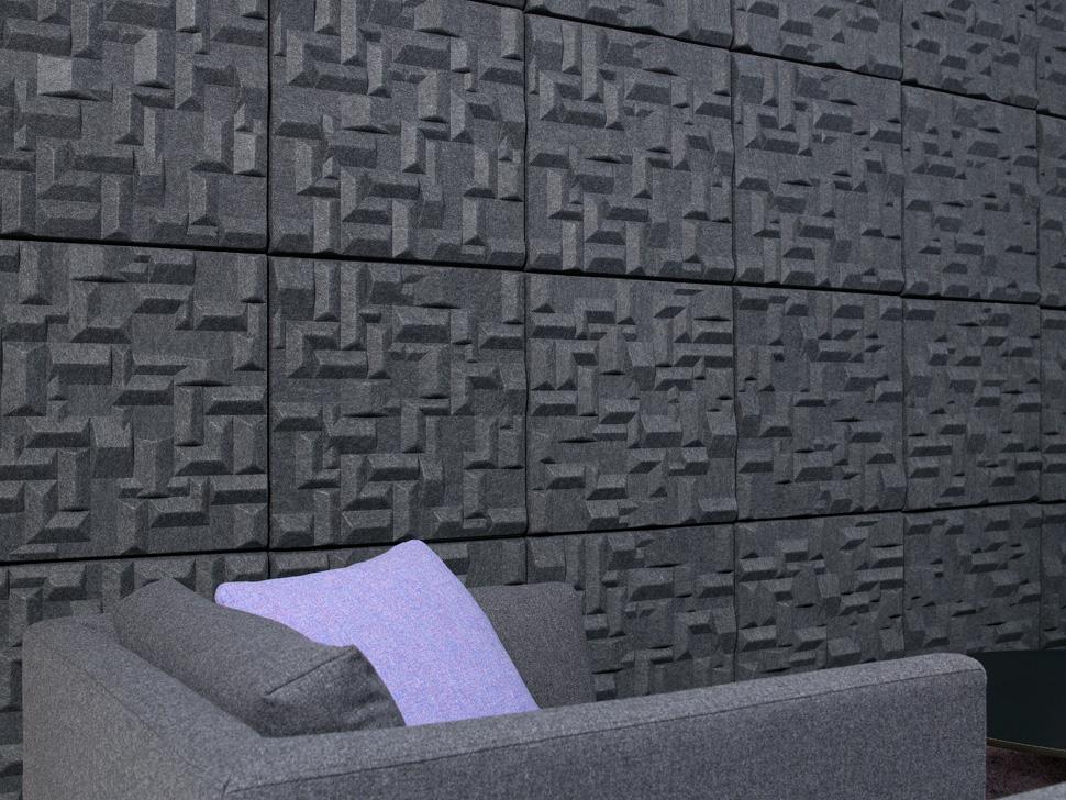 Installationsbild på Soundwave Village Grey på vägg