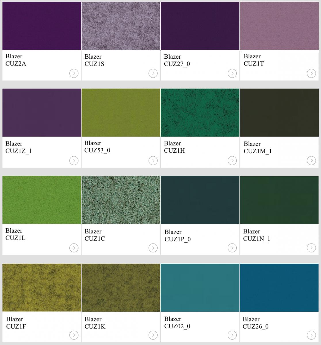 Textil Blazer III kulörer till skärmväggar