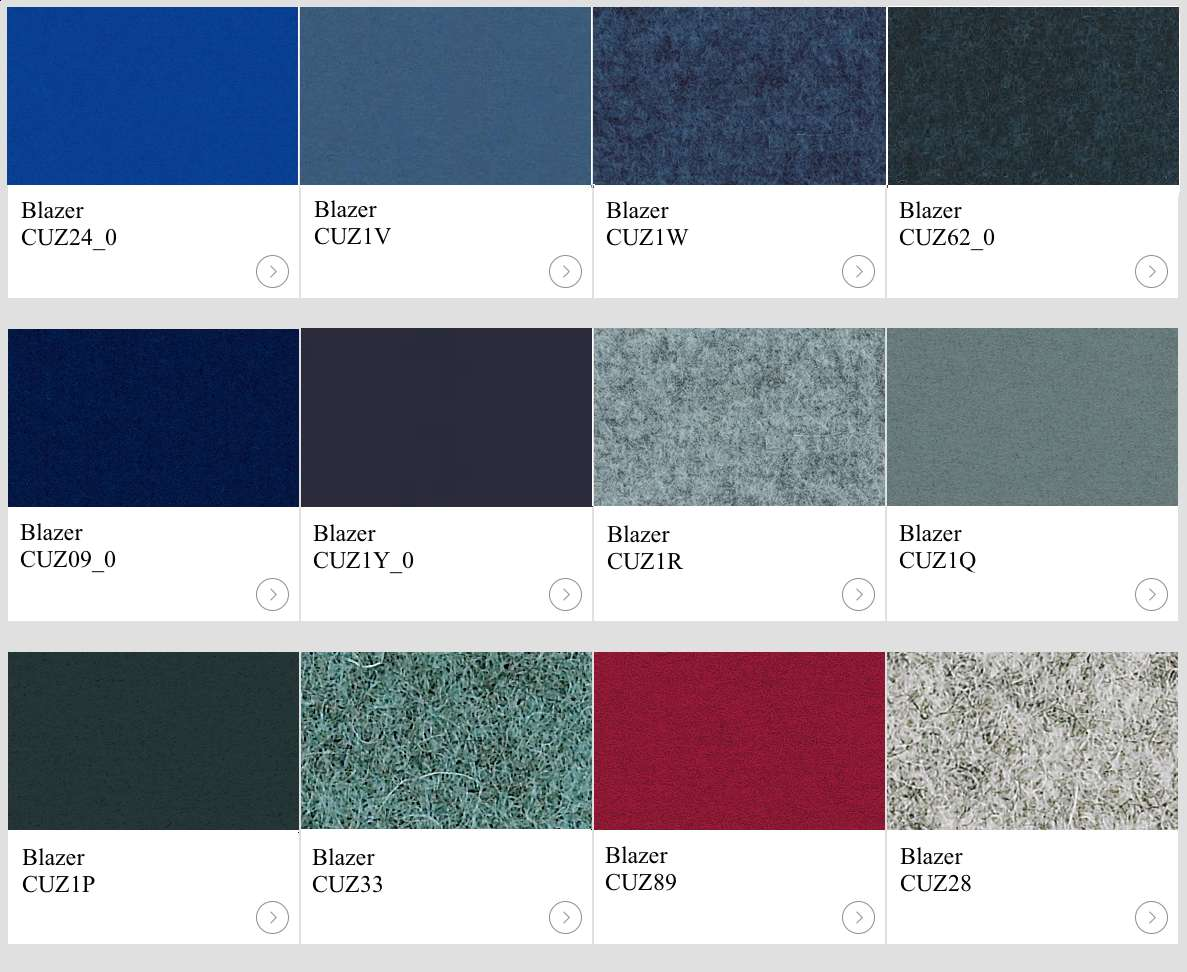 Textil Blazer IIII kulörer till skärmväggar