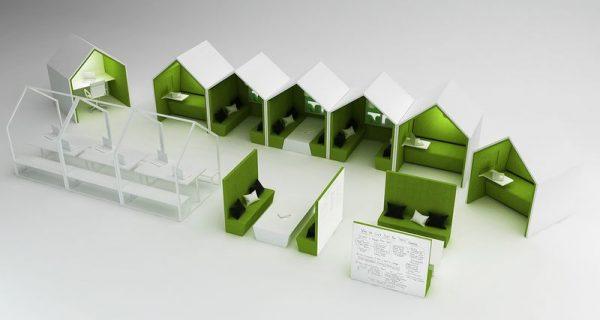 The Hut som en by på kontoret