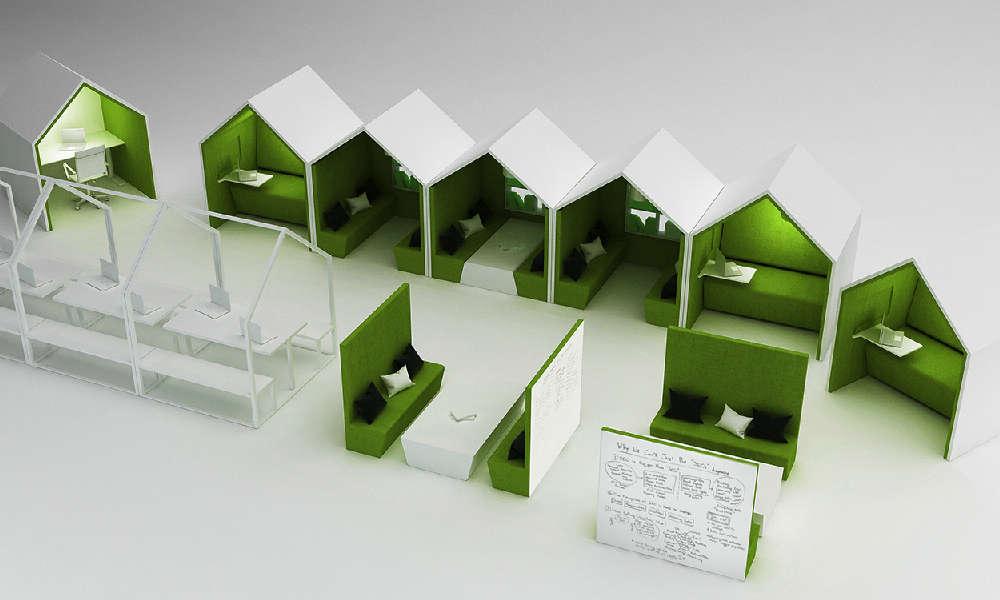 Varför inte göra en hel liten by av ljuddämpande rum i fokusytan? Här som illustration för aktivitetsbaserad arbetsplats kontor.