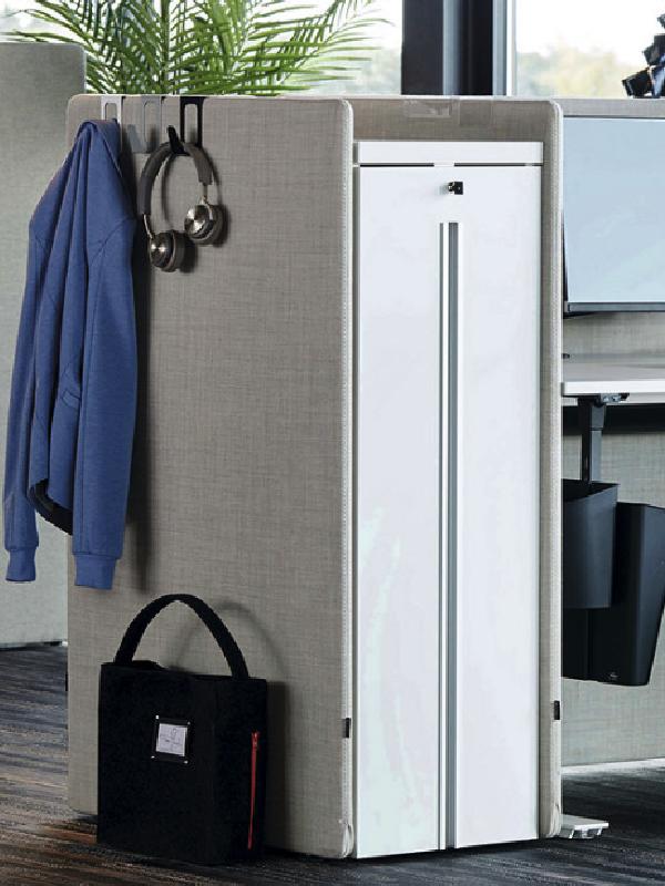 Tower Booth skärmväggar skapar ljudabsorberande förvaring