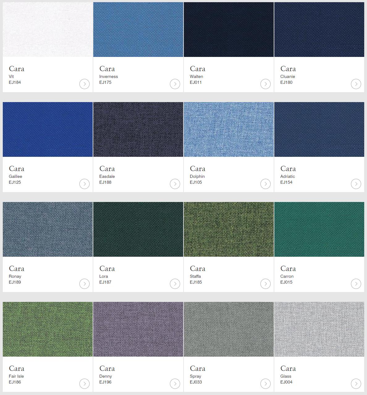 Camira Cara textilkulörer för skärmväggar