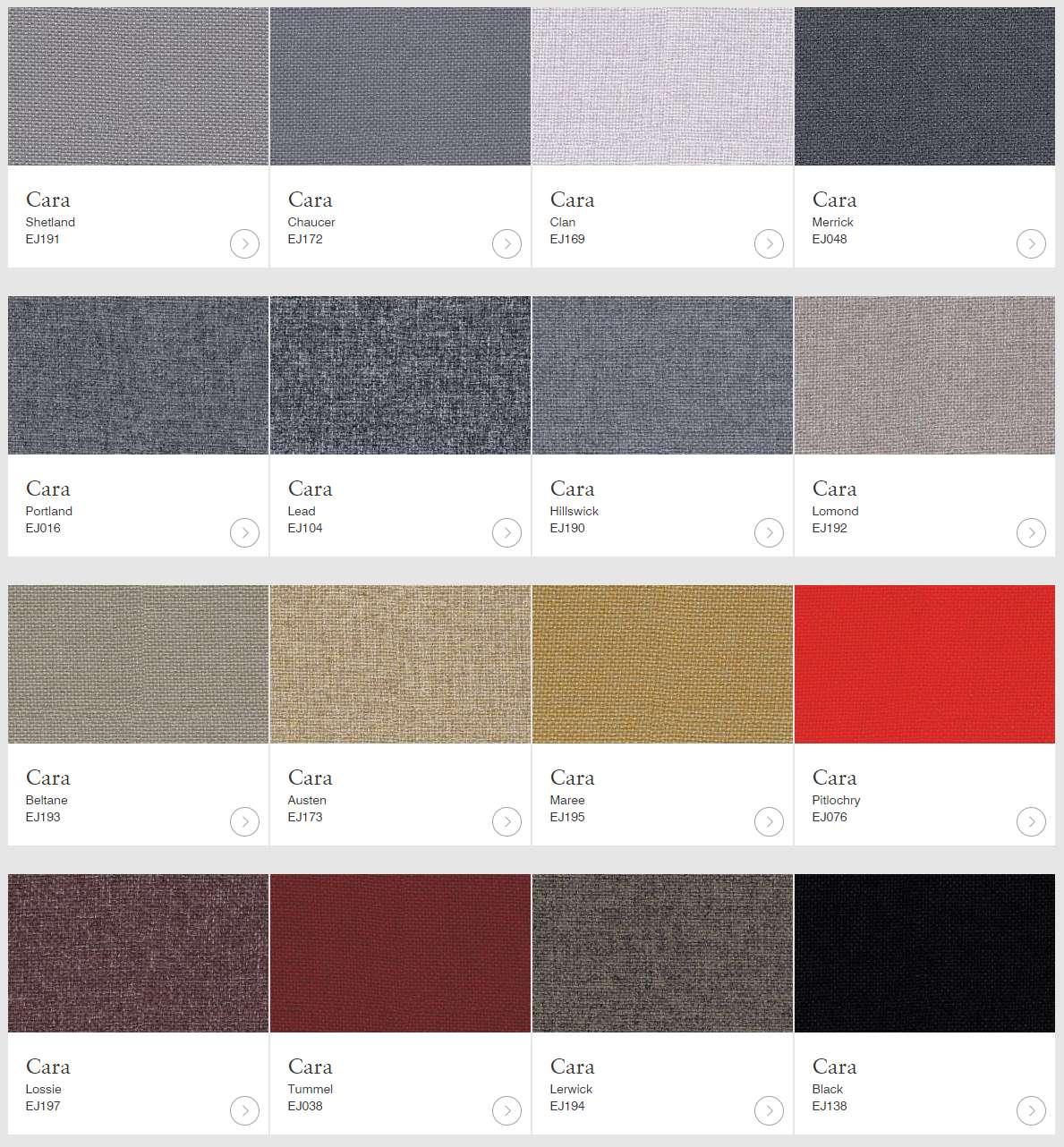 Cara textil finns i flera olika kulörer